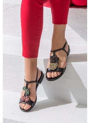 Elle Taşlı Sandalet Siyah